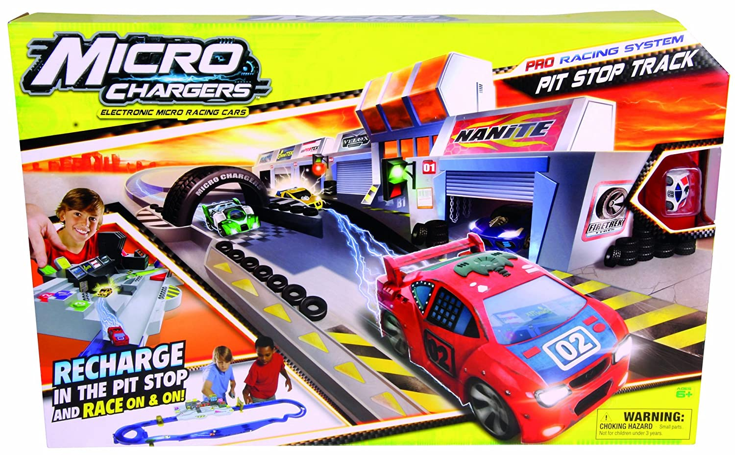 Amazon Com Micro Chargers Pro Racing Pit Stop Track Toys Games