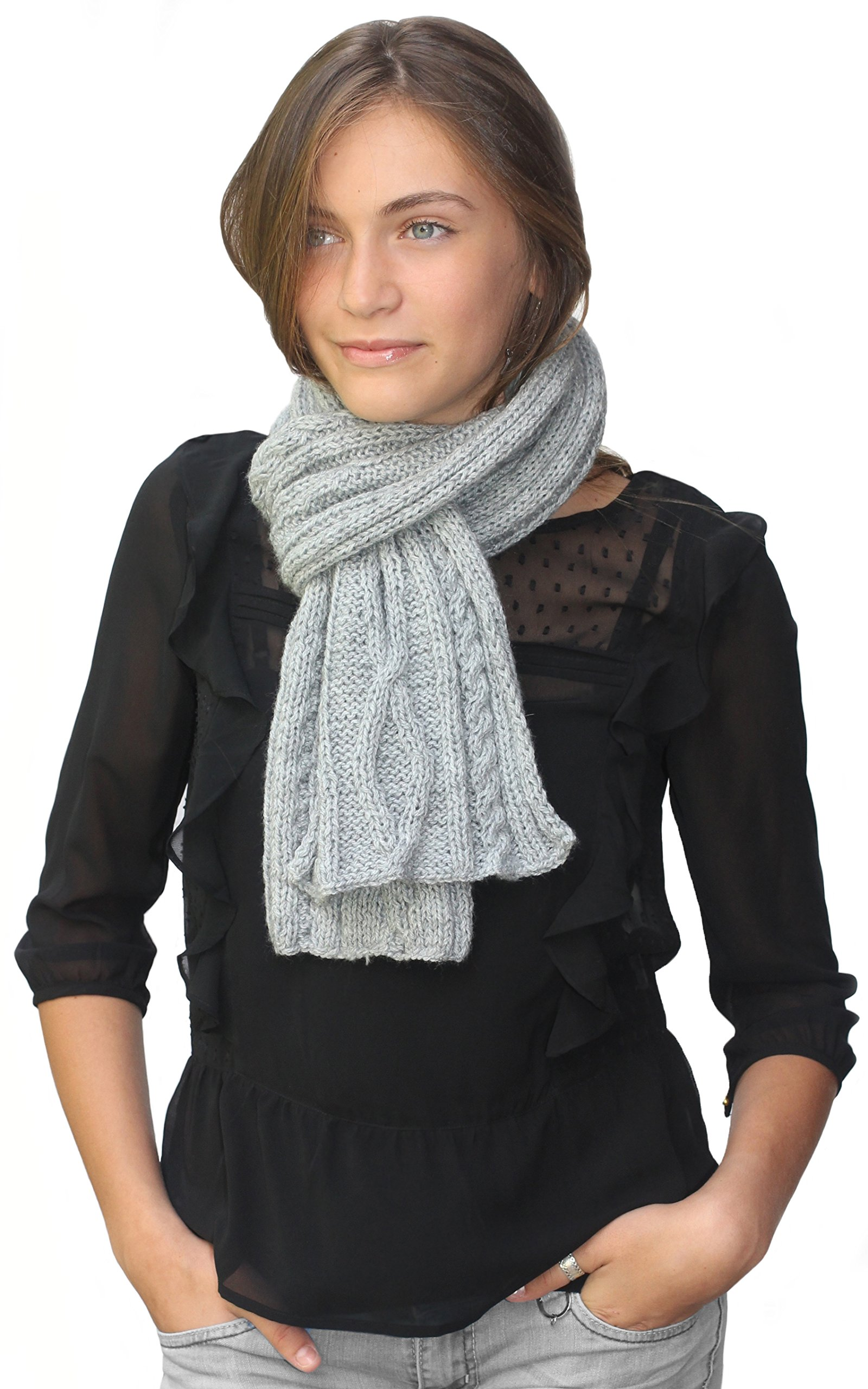Handmade Knitted by Hand Alpaca and Wool Scarf - Softest Gray (CUSTOM MADE ORDER) by BARBERY Alpaca Accessories