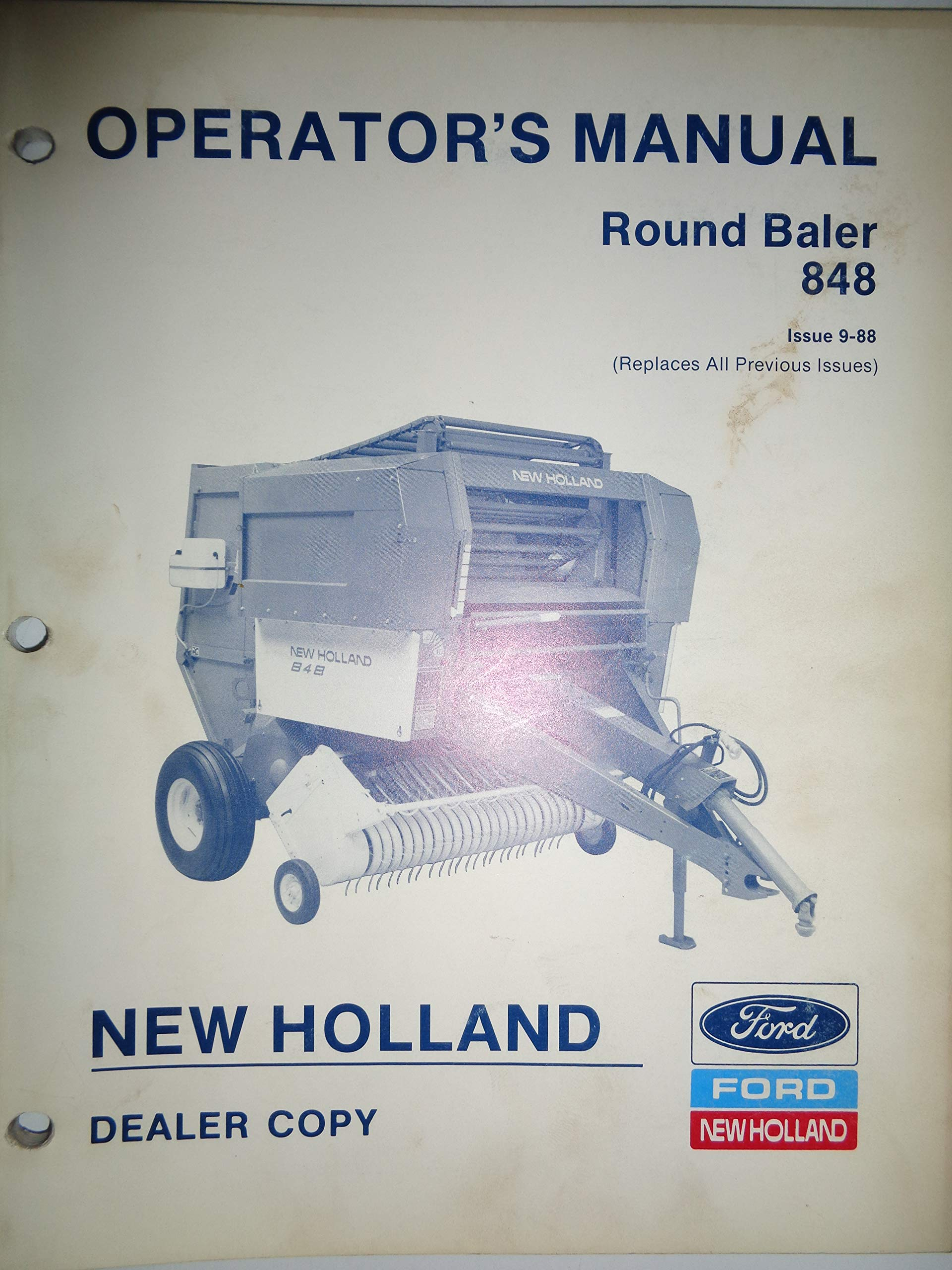 New Holland 848 Round Baler Operators Manual 9/88 42084814: New