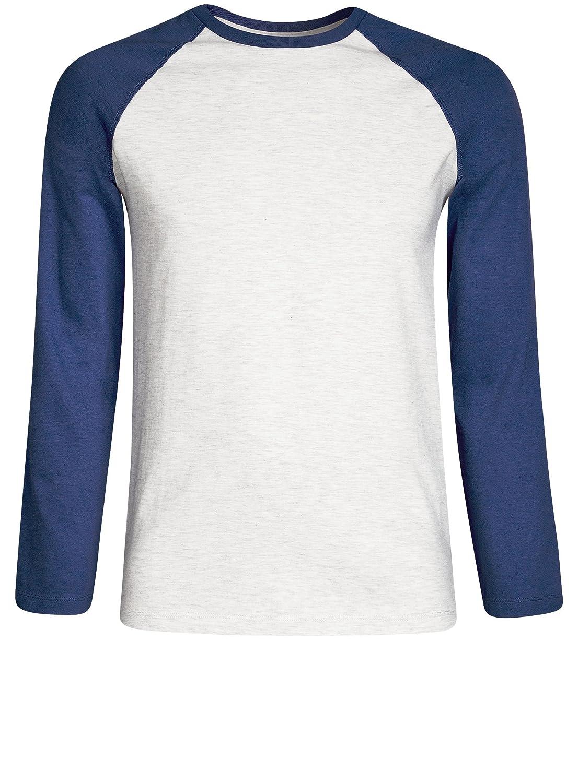 oodji Ultra Hombre Camiseta Combinada de Manga Larga