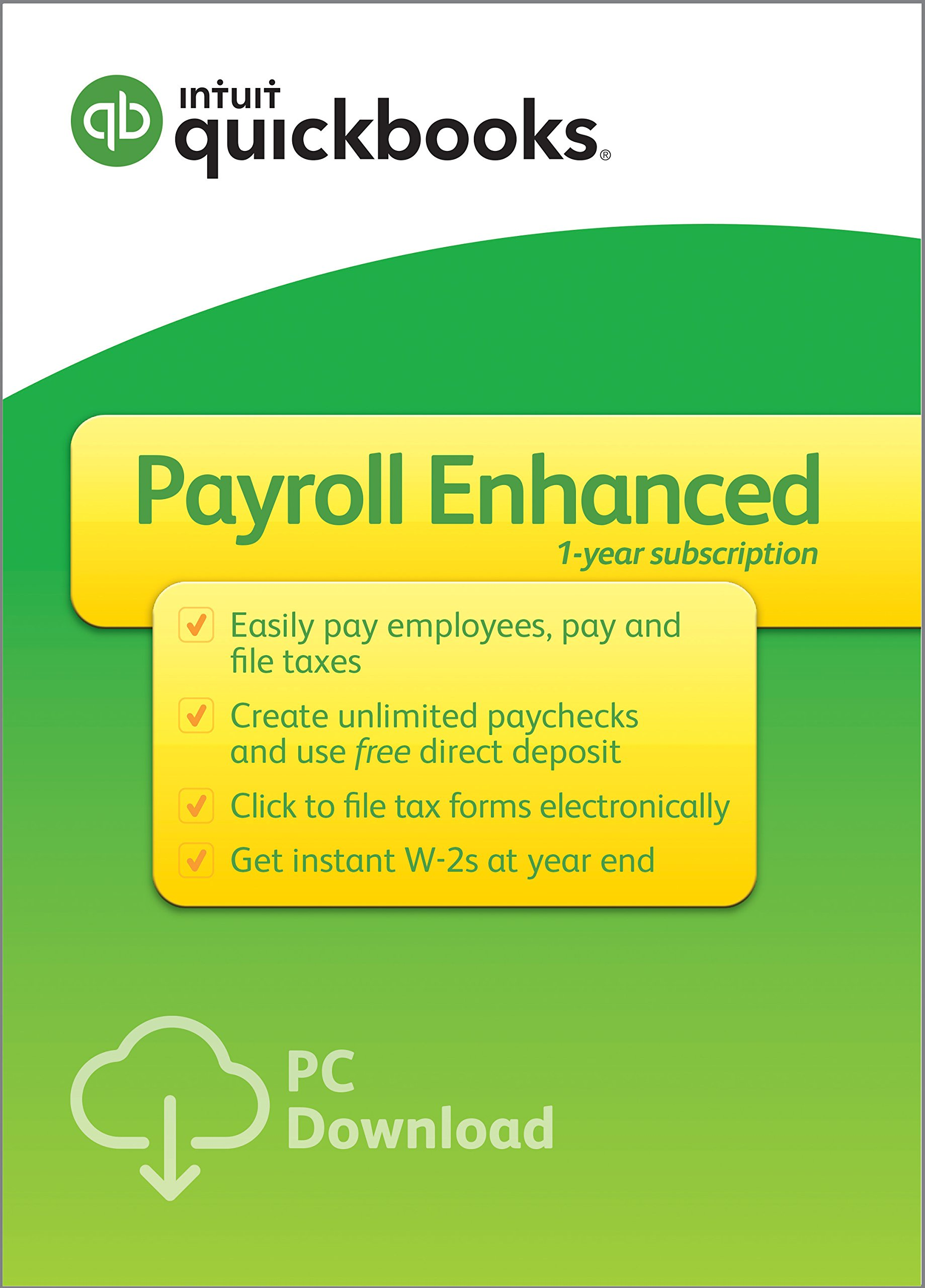 QuickBooks Desktop Enhanced Payroll 2019, 1 Year Subscription [PC Download] by Intuit