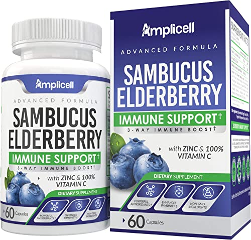 Sambucus Elderberry Immune Support – Black Elderberry Immunity Supplement – 60 Elderberry Supplement Capsules w 100 Vitamin C – Elderberry Extract, Zinc Vitamin Vitamin C Supplement – 30Day Supply