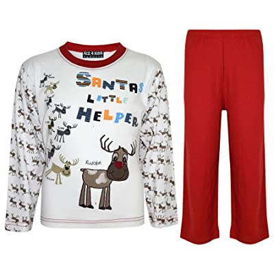 a2z4kids Kids Girls Boys Santas Little Helper Christmas Pyjamas Reindeer Rudolph PJ's