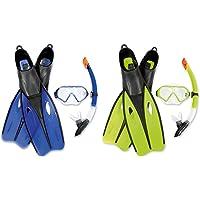 Edles Tauchset Dream Schwimmflossen Taucherbrille und Schnorchel Gr. 38- 44 (S 38-39, gelb-grün)
