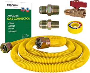 """PROCURU 5/8"""" OD x 60"""" Gas Flex Line Connector Kit with 3/4"""" Straight Valve for Stove Range, Furnace, WeatherProof Flexible Stainless Steel Pipe with SafeGuard Coating"""