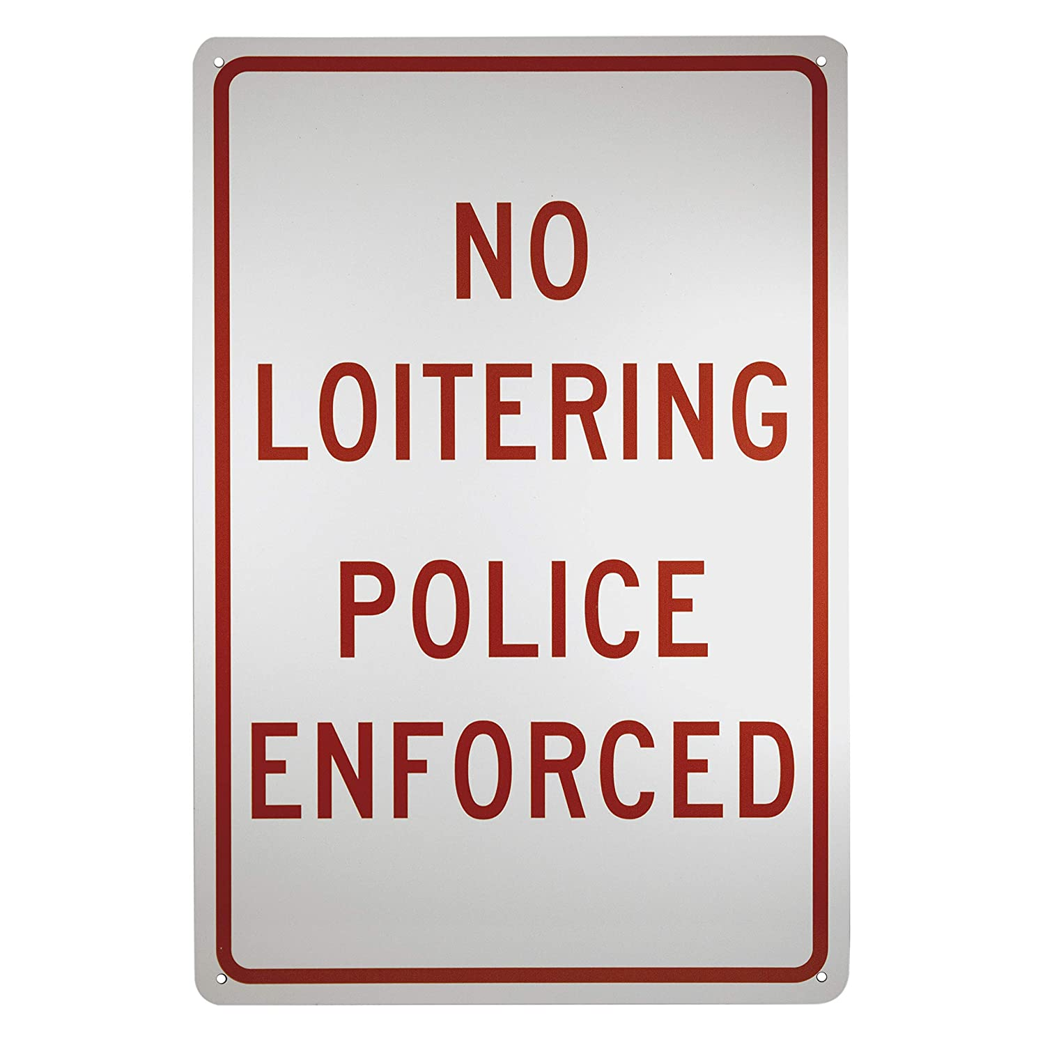 NMC TM63G Traffic Sign, Legend 'NO LOITERING POLICE ENFORCED', 12' Length x 18' Height, 0.040 Aluminum, Red On White Legend NO LOITERING POLICE ENFORCED 12 Length x 18 Height NMCTM63G