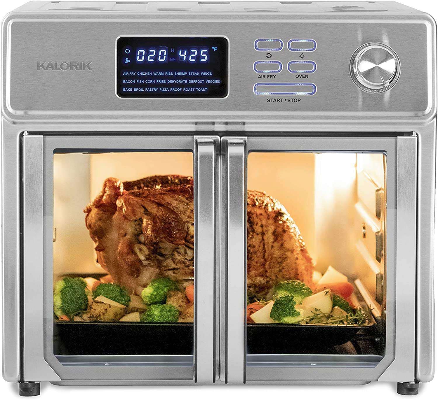 Kalorik 26 QT Digital Maxx Air Fryer Oven with 9 Accessories, Roaster, Broiler, Rotisserie, Dehydrator, Oven, Toaster, Pizza Oven and Slow Cooker. Includes Cookbook. Sears up to 500⁰F. Extra Large Capacity, All in One Appliance. Stainless Steel. AFO 46045 SS (Renewed)