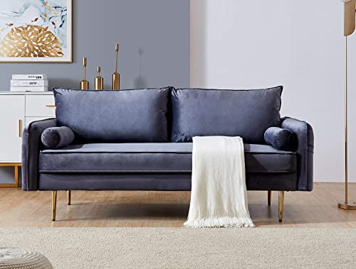 Rhomtree Mid Century Sofa Velvet Fabric Upholster Couch 71 Modern Futon Bench Loveseat Living Room Sofa