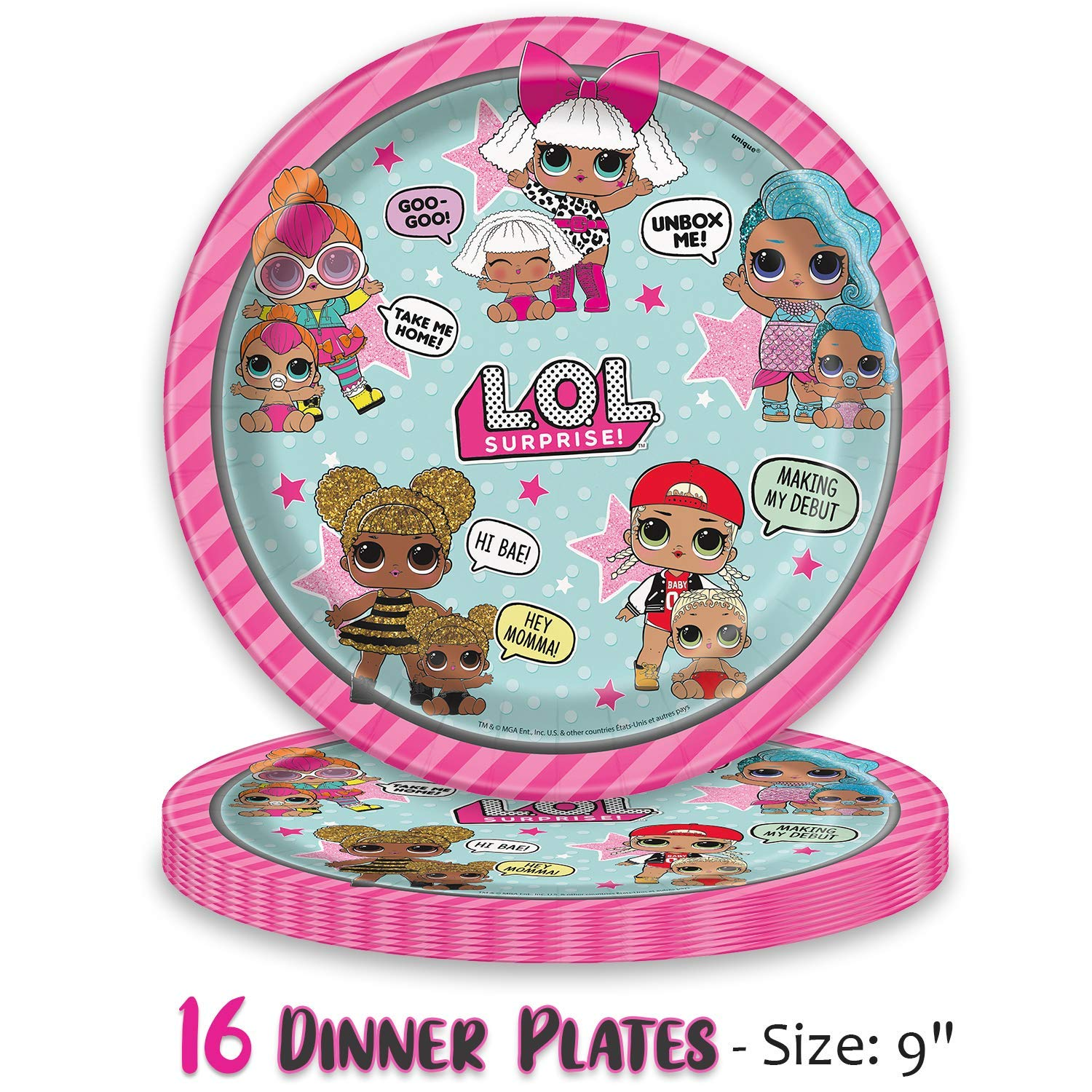 LOL Suprise Party Supplies, Serves 16 - Plates, Napkins, Tablecloth, Cups, Straws, Balloons, Tattoos, Birthday Hats - Full Tableware, Decorations, Favors for L.O.L Collectors by HeroFiber (Image #1)