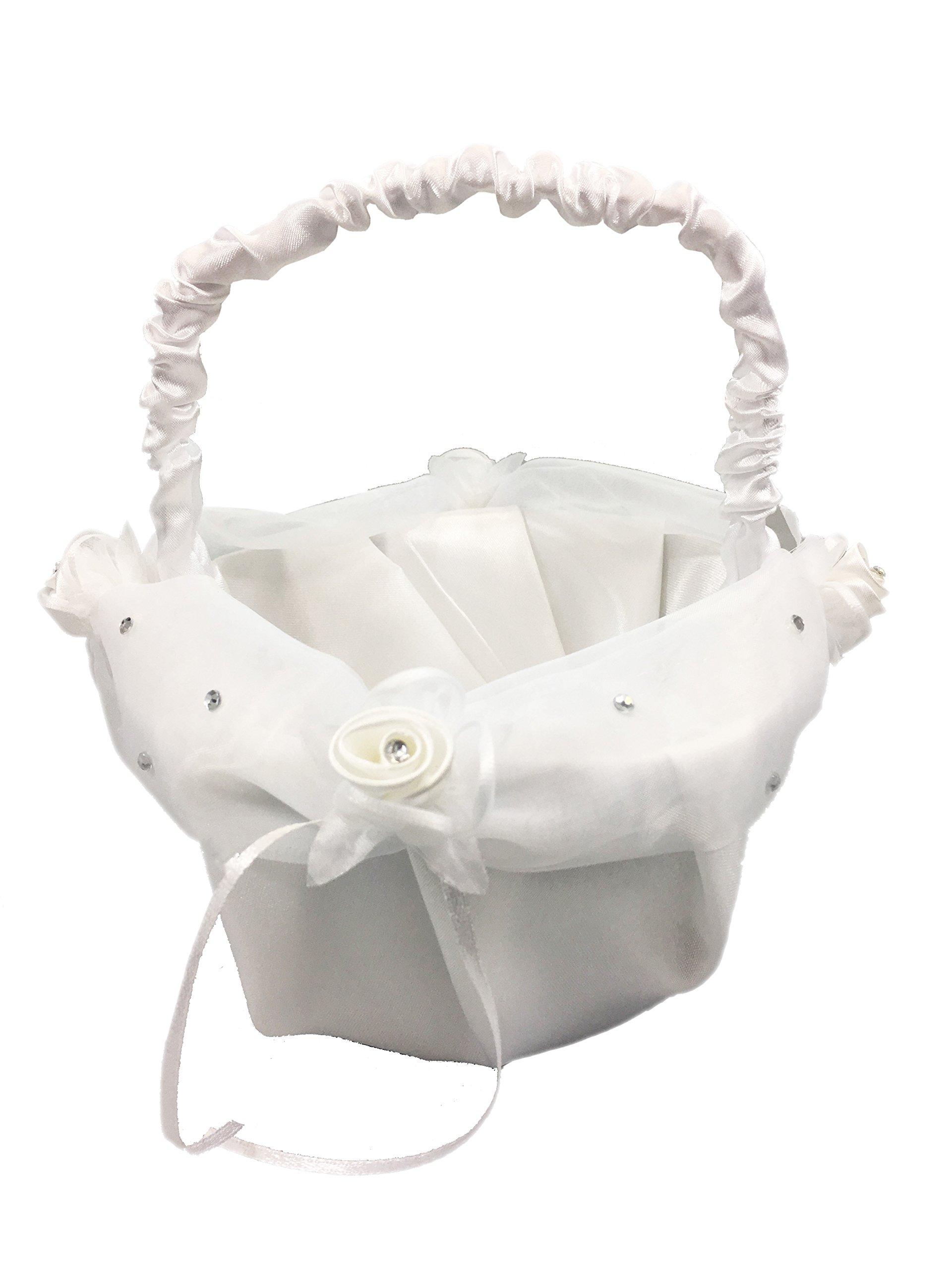 8.5'' Inch White Satin Wedding Basket with Petals & Rhinestones - For Flower Girl, Flowers, Roses, Petals, Anniversaries, & Weddings (Basket 1, Turquoise Petals)