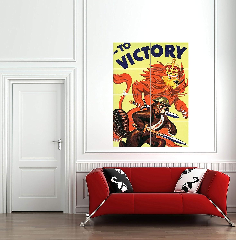 "Propaganda War WW2 Canada Victory Lion Beaver Cigar Art Panel Poster 33X47/"""
