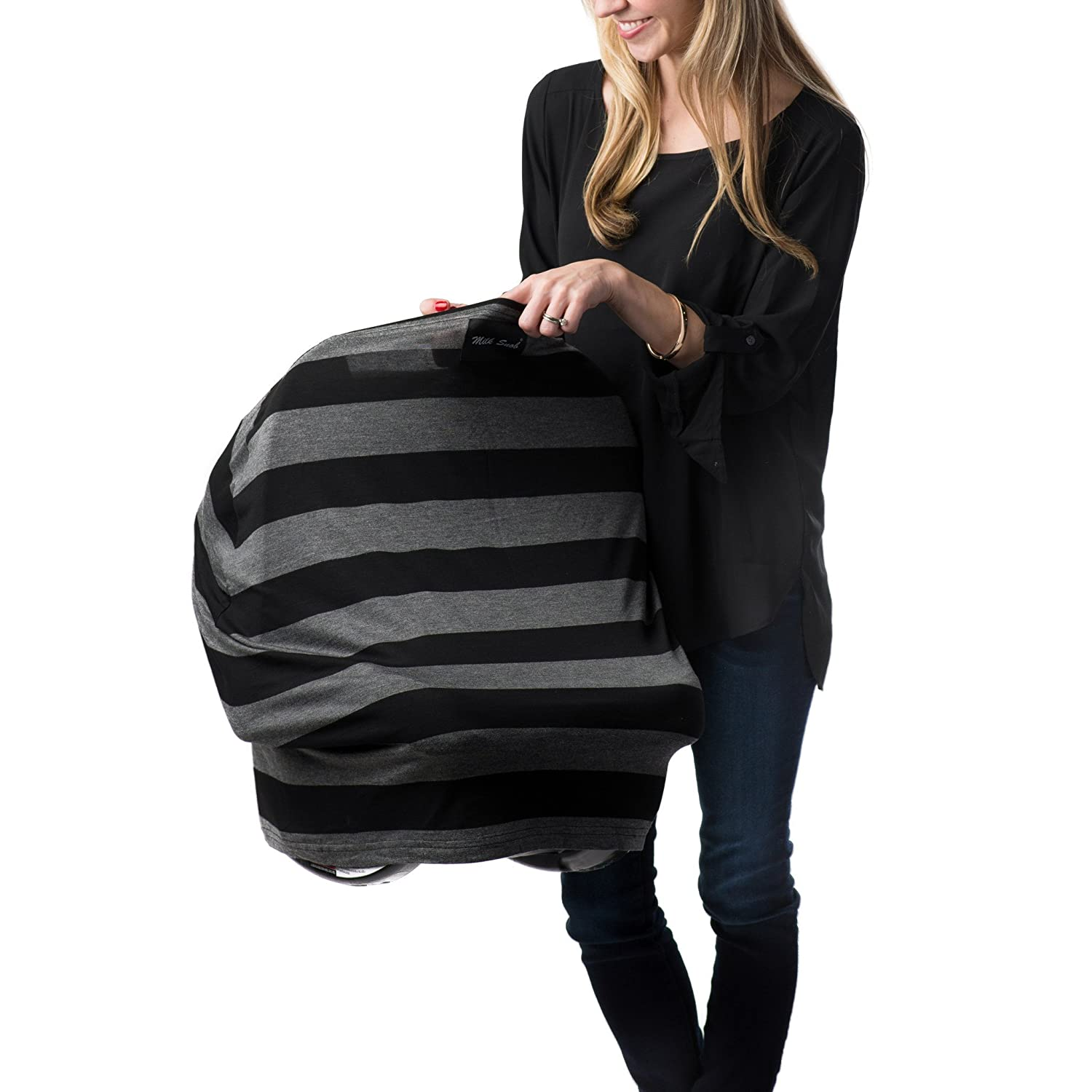 AS SEEN ON SHARK TANK The Original Milk Snob Infant Car Seat Cover and Nursing Cover Multi-Use 360° Coverage Breathable Stretchy - Bold Black and Grey Stripe