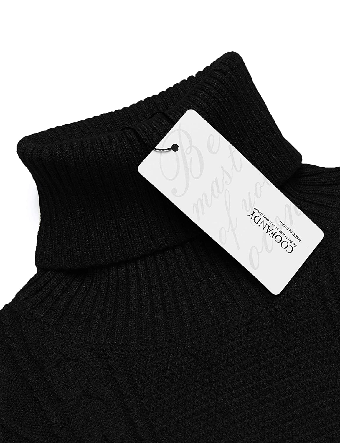 COOFANDY Mens Slim fit Turtleneck Sweater Casual Cable Knitted Pullover Sweaters