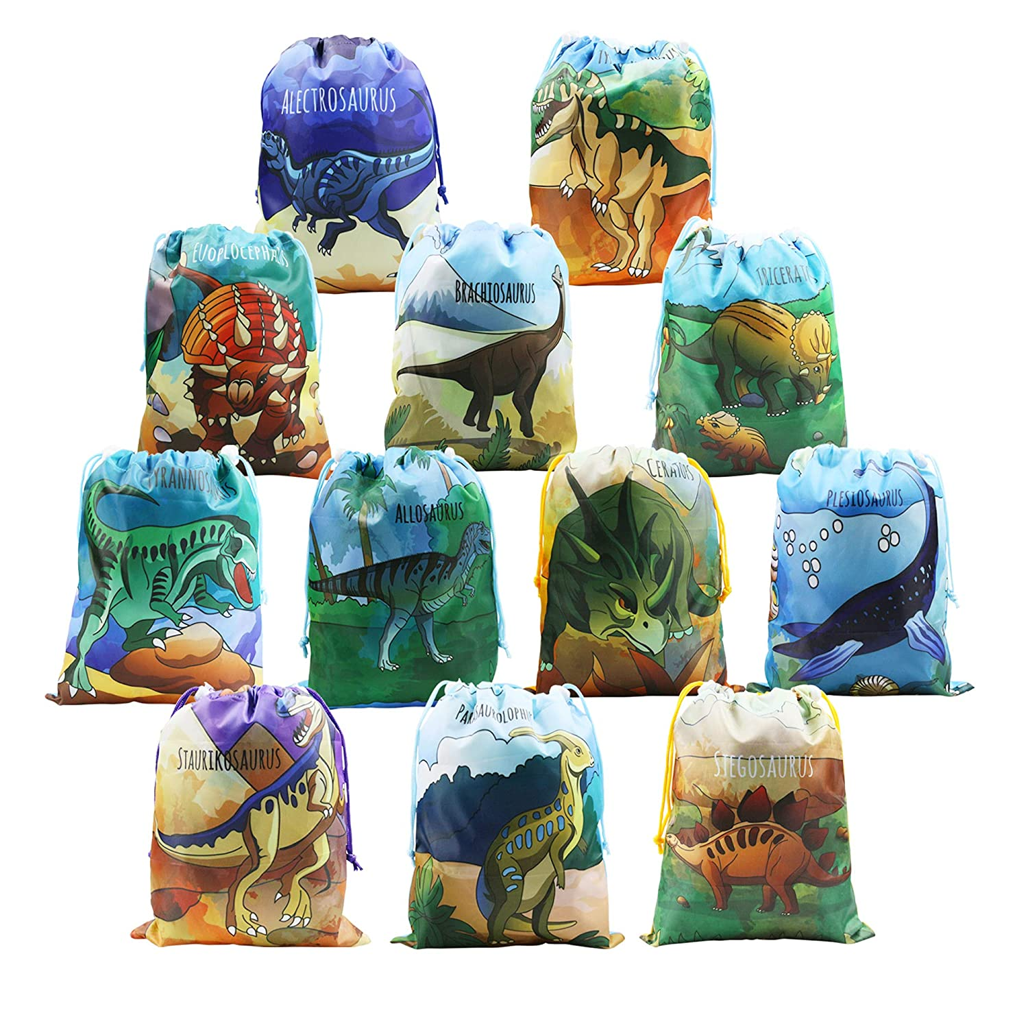 Party Bags Dinosaur Supplies Kids Ideas Gift 12 Pack Birthday Dino Drawstring Goodie In Bulk For Boys Girls Children Amazoncouk