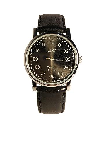 Reloj mecánico de un solo vástago LUCH. 77471763 Hombre, Cromo, Forma Redonda, Cristal Mineral, Cuero.: Amazon.es: Relojes