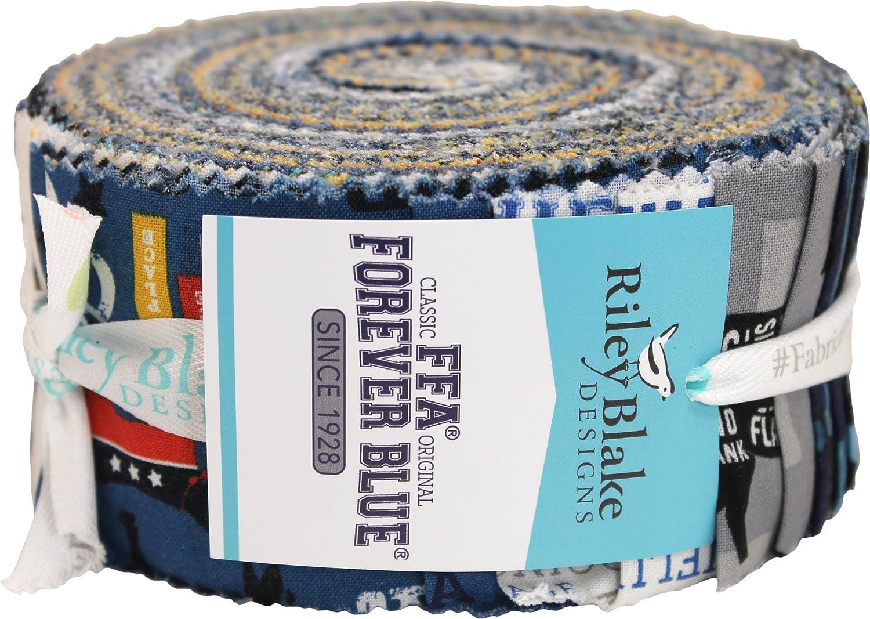 FFA Forever Blue Rolie Polie 40 2.5-inch Strips Jelly Roll Riley Blake Designs RP-7210-40
