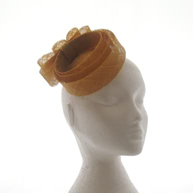 Hatsnstuff Mustard Yellow Concentric Sinamay Wedding Fascinator with ... 0e286d1ccc7