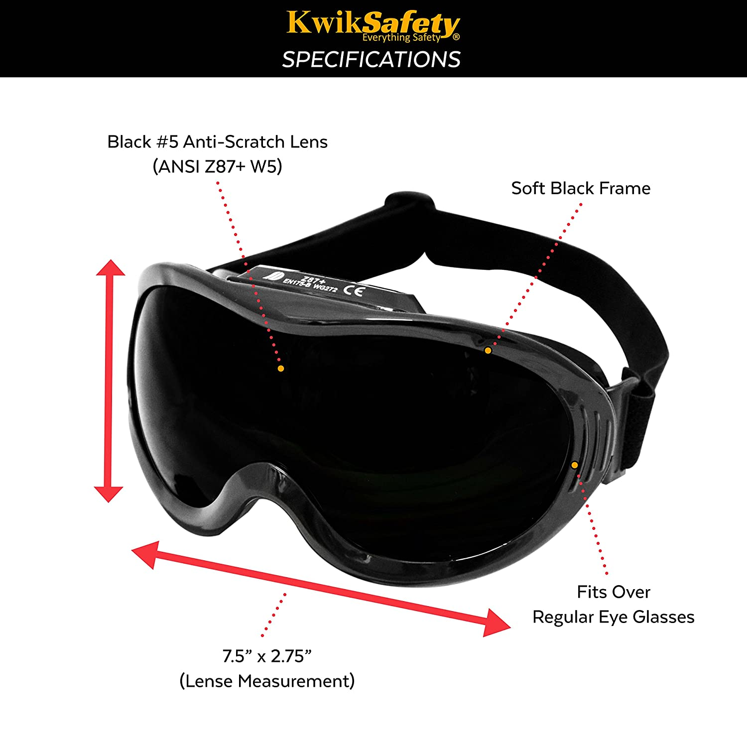 Anti-Fog, Anti-Scratch, Snug FIT Pit Viper ANSI Industrial Charlotte, NC Welding Goggles Shade 5 Ventilation Infrared Welding Torch Brazing Flame Cutting Gas Oxy-Acetylene Black KwikSafety