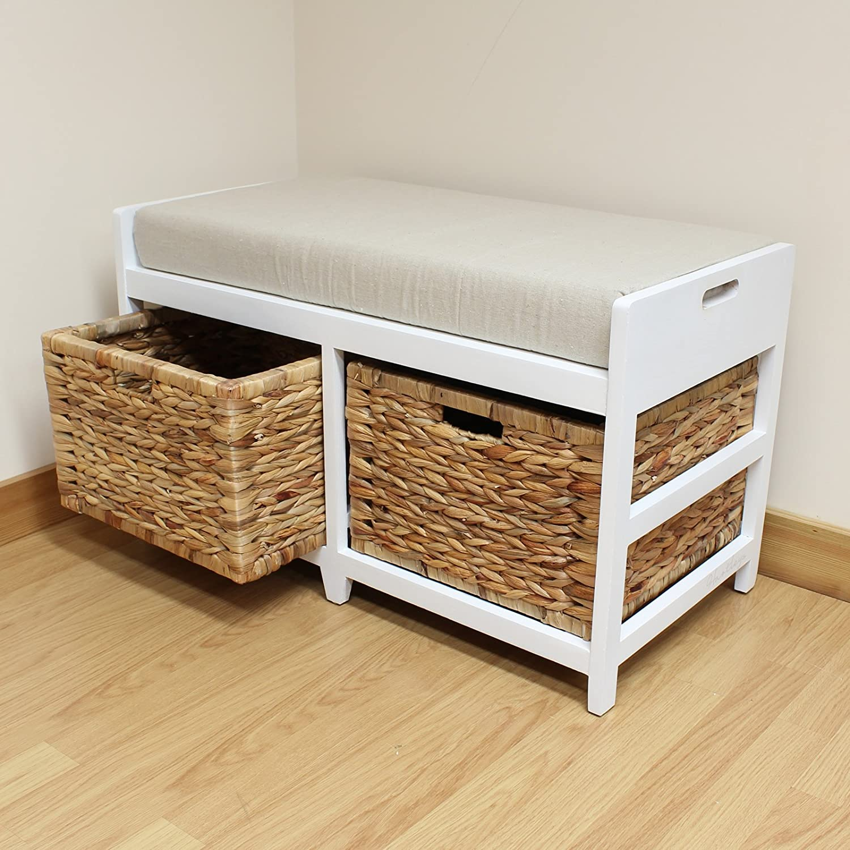 Amazon.com: Hartleys Bench Cushion Seat U0026 Seagrass Wicker Storage Baskets:  Kitchen U0026 Dining