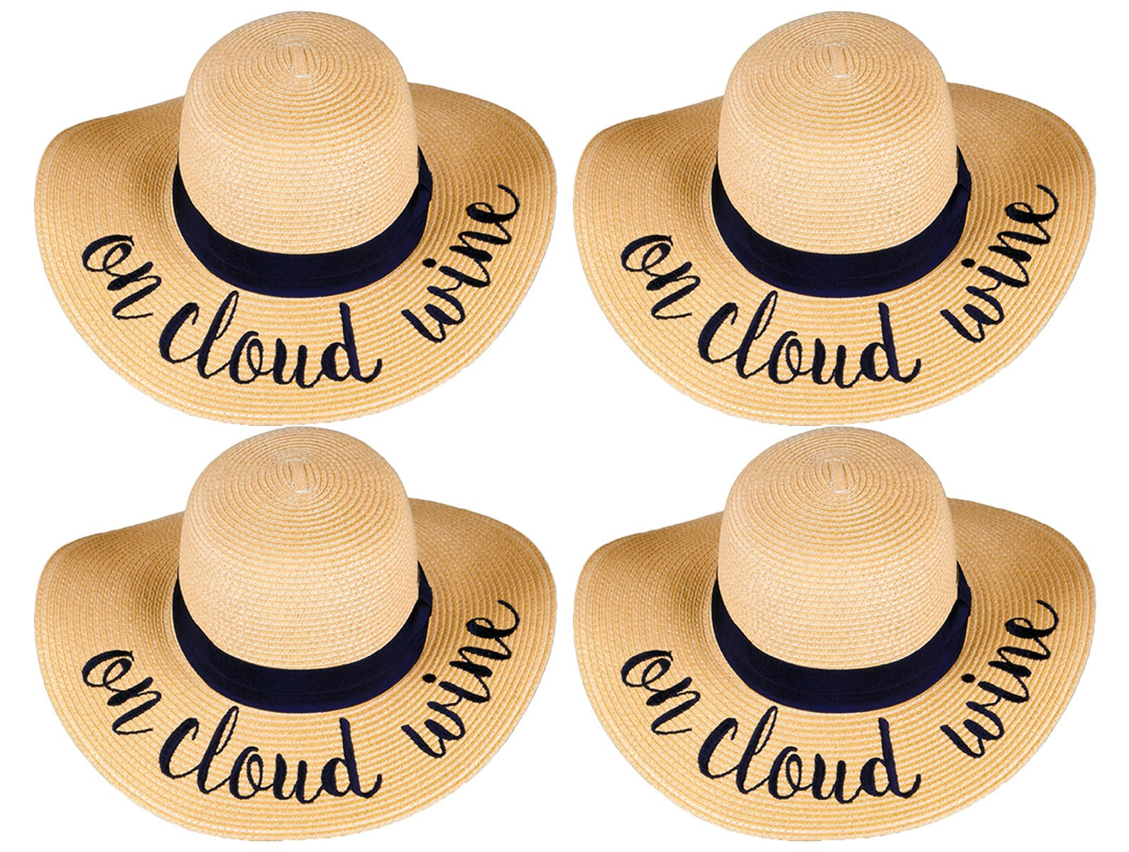H-2017-BUNDLE-OCWx4 Embroidered Sun Hat 4 Pack - On Cloud Wine by Funky Junque