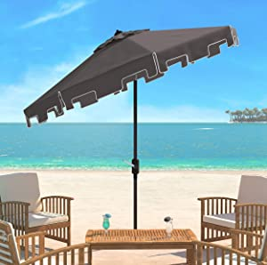 Safavieh Outdoor Collection Zimmerman Crank Market Umbrella with Flap
