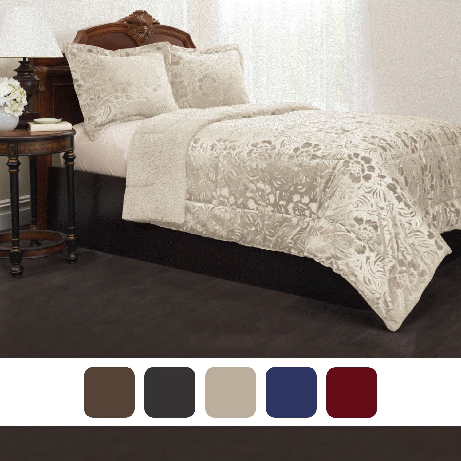 Sherpa Quilted Fleece Comforter Set Cozy Comfort /& Warm COMINHKR095952 Down Alternative Filling Options Of Colors /& Sizes Matching Pillow Shams Included
