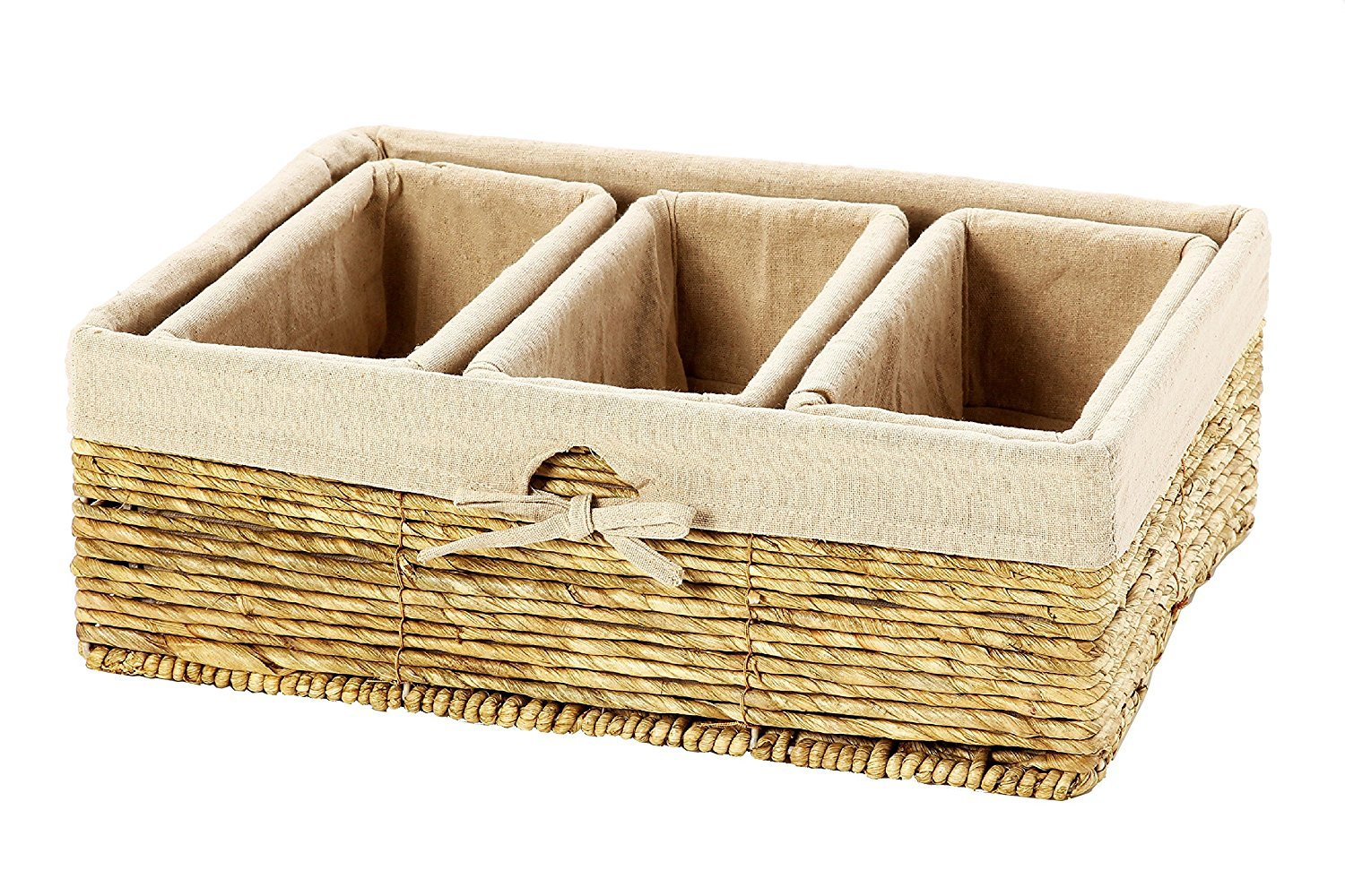 Storage Basket - 4-Piece Nesting Baskets, Beiger Storage Containers - Storage Bins Set - Wicker Corn Rope Decorative Organizing Baskets for Shelves, Magazines, Books, Toys - 3 Small, 1 Large by Juvale
