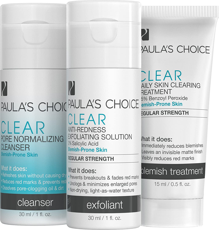 Paula's Choice-CLEAR Regular Strength Acne Travel Kit-2% Salicylic Acid & 2.5% Benzoyl Peroxide-for Moderate Acne of the Face Acne Treatment Skincare Kit with Face Wash, Blemish Treatment, Exfoliator Paula's Choice