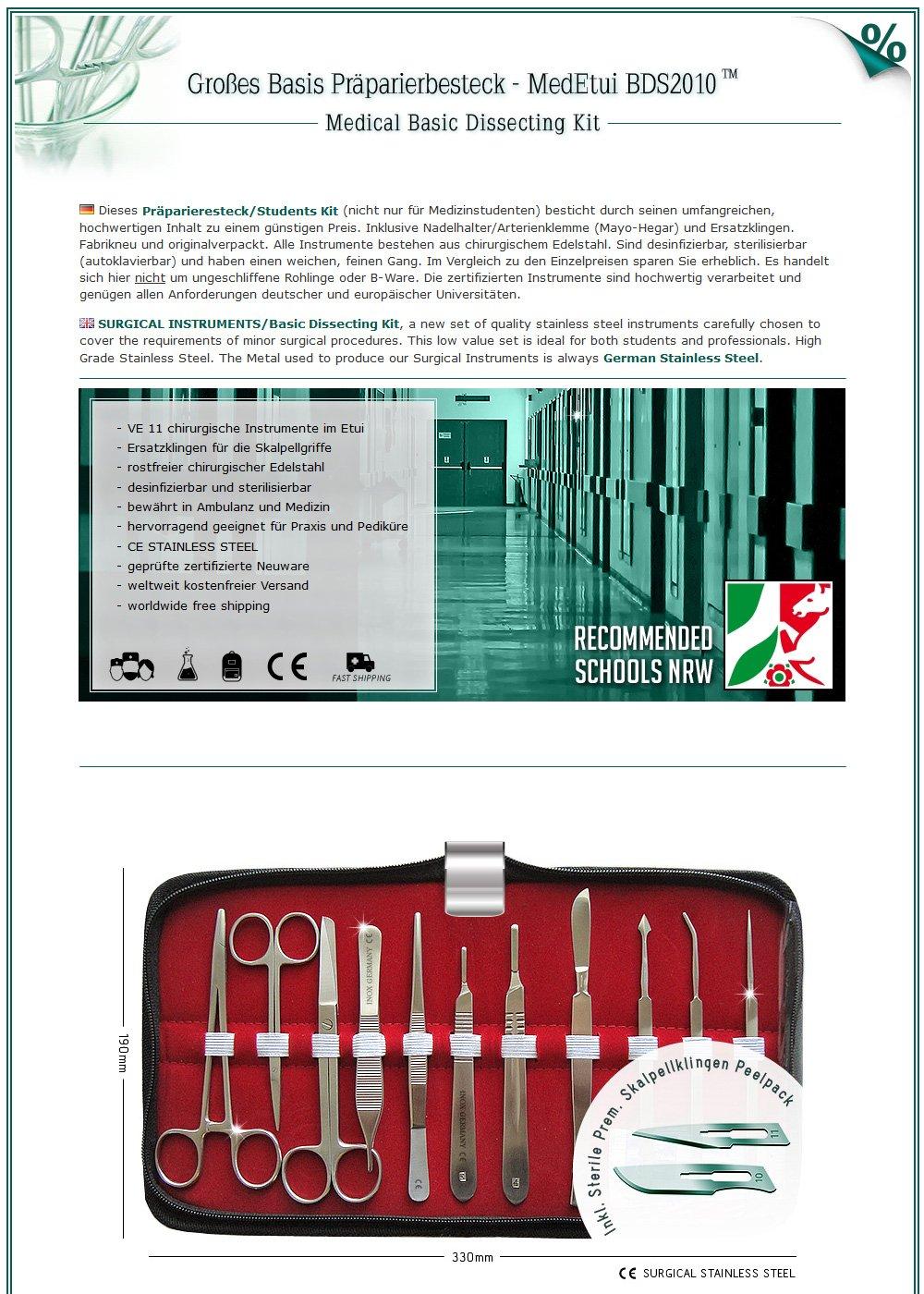 Großes Basis Präparierbesteck - MedEtui BDS2010 | Chirurgisches ...