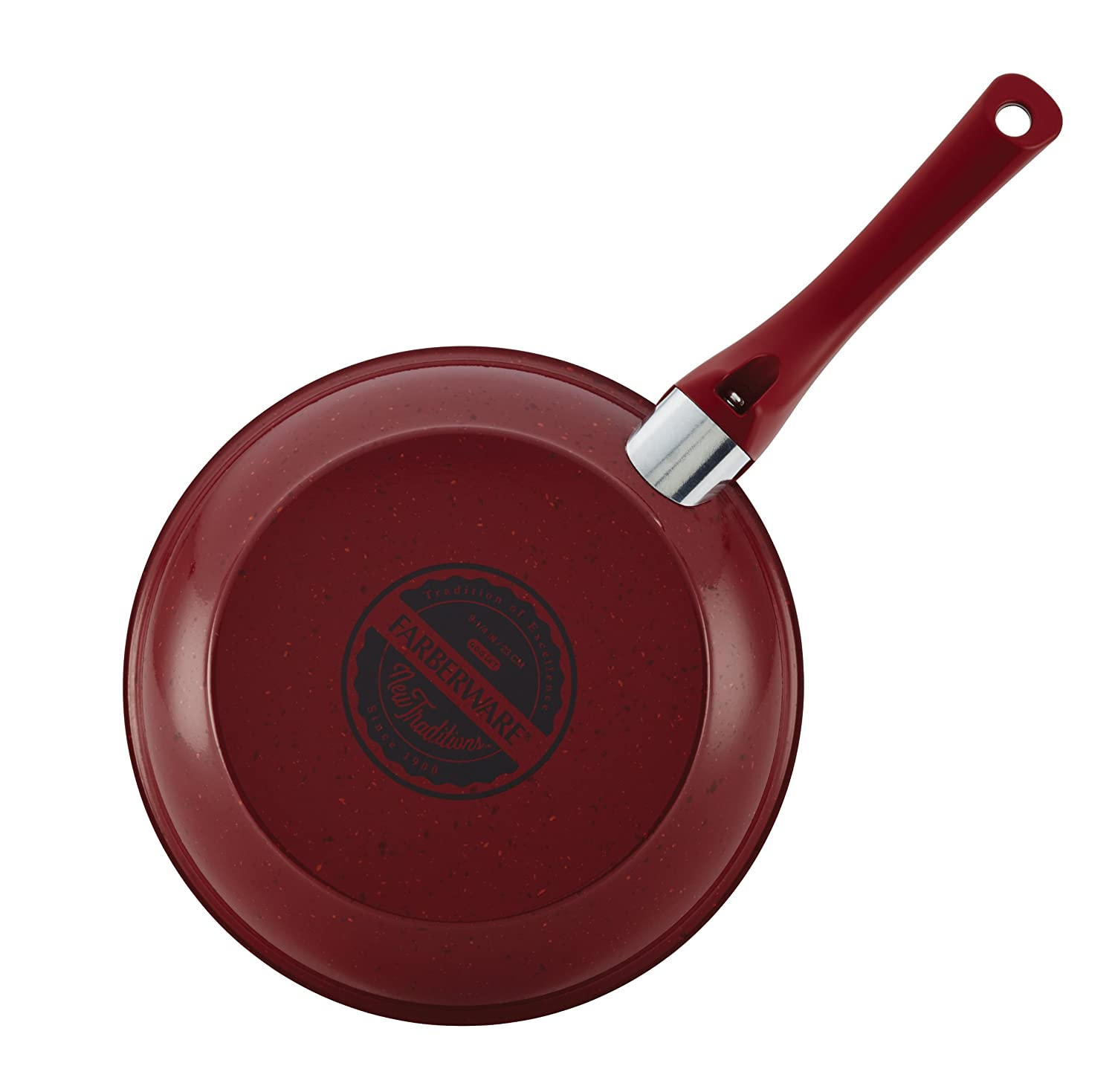 Red with Red Handles Farberware New Traditions Speckled Aluminum Nonstick 12-Piece Cookware Set