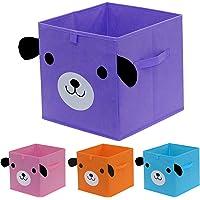 homyfort Lot de 6 Boîtes/Tiroirs en Tissu Cube de Rangement Pliable Coffre pour Linge, Jouets, Vêtement, avec poignées en Cuir et Etiquettes