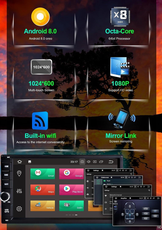 Soporta 4K V/ídeo AV-OUT WiFi SD Bluetooth USB Mandos de Volante Freeauto Android 8.0 Autoradio GPS Universal 2 Din 7 Pulgadas Octa Core, 4GB Ram, 32GB Rom 4G Mirror-link Subwoofer