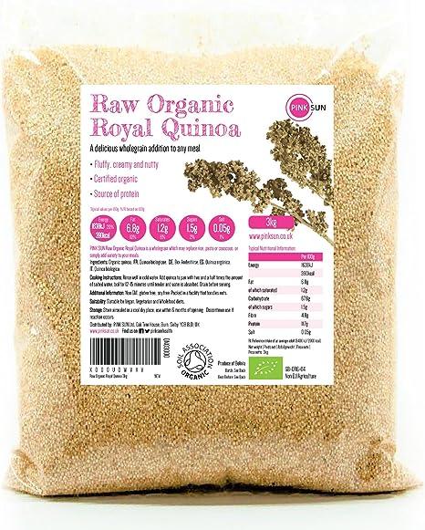 PINK SUN Quinoa Real Orgánica 3kg Blanca Semillas de Quinua Bio a Granel Sin Gluten Organic Bulk