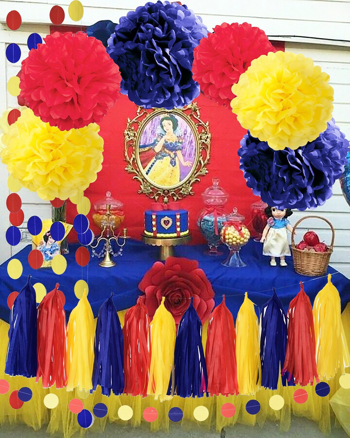 Qian's Party Snow White Color Party Supplies Yellow Navy Red Snow White Birthday Party Decorations/Tissue Pom Poms Circle Garland for Snow White Princess Birthday Decorations by Qian's Party