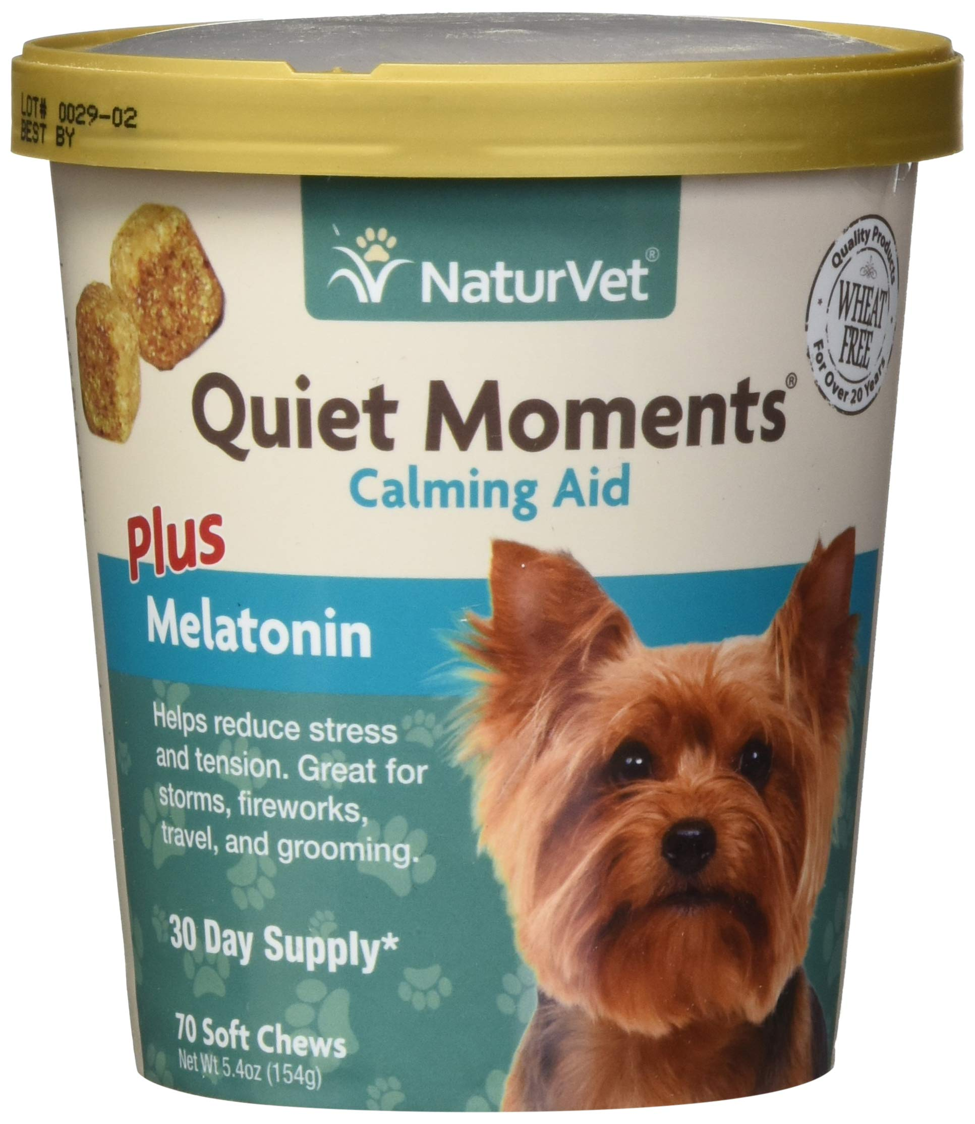 NaturVet - Quiet Moments Calming Aid for Dogs - Plus Melatonin - Helps Reduce Stress & Promote Relaxation - Great for Storms, Fireworks, Separation, Travel & Grooming - 70 Soft Chews by NaturVet