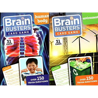 Brain Busters Card Game - Human Body and Environment - with Over 150 Trivia Questions - Educational Flash Cards (Set of 2): Toys & Games