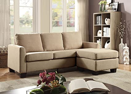 Esofastore Sectional Simple Chic Modern Sleeper Sofa Beige Linen Fabric  Chaise Wood Living Room Furniture Comfort