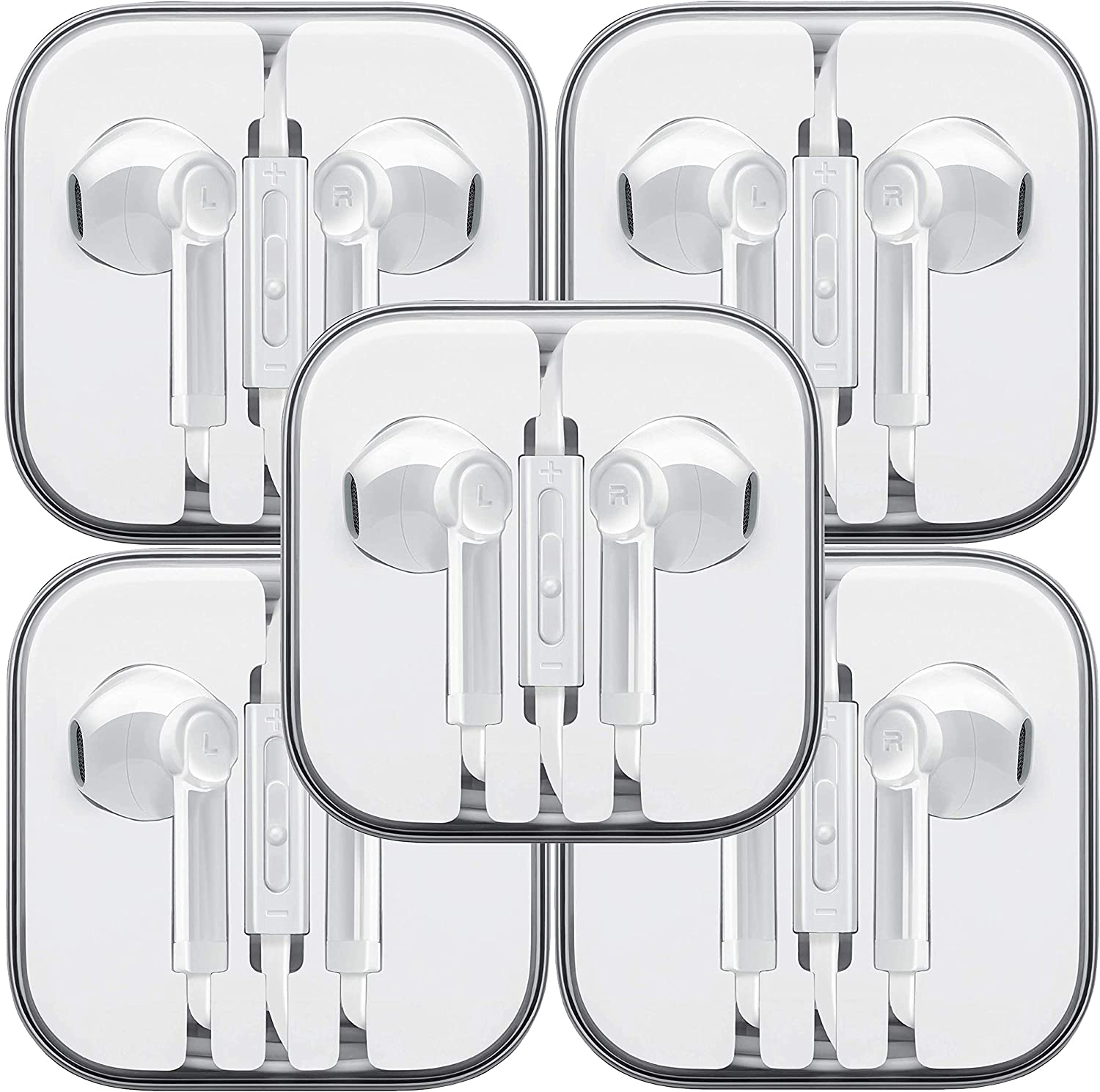 Wired Earbud Headphones with Microphone, Boost+ Premium Earphones Volume Control Slide-Bar with 3.5mm Port for PCs, Tablets, and Cell Phones in The Office, Classroom or Home, White, 5-Pack