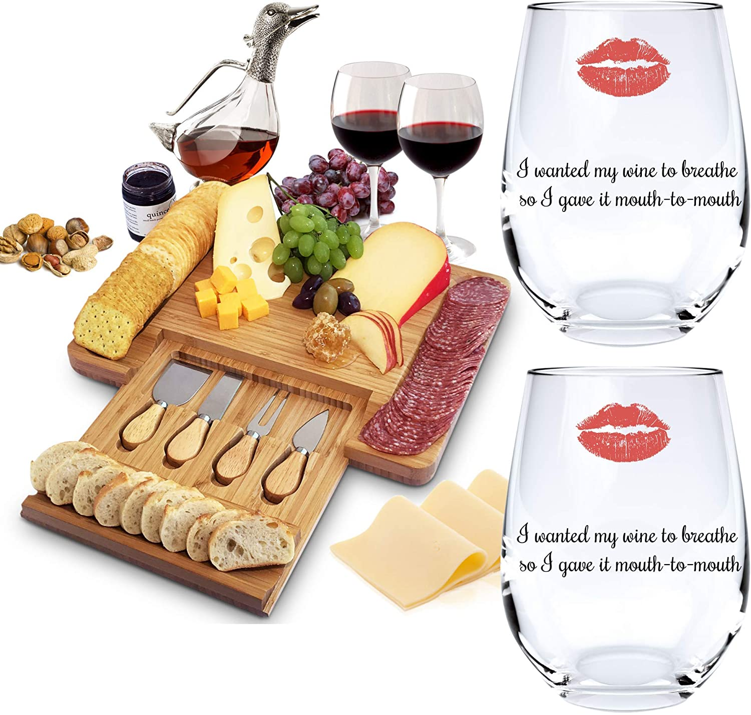 Home Euphoria Natural Bamboo Cheese Board and Cutlery Set with Slide-out Drawer and 2 Breathe Wine Glasses. Thoughtful Christmas, Wedding & Housewarming Gifts