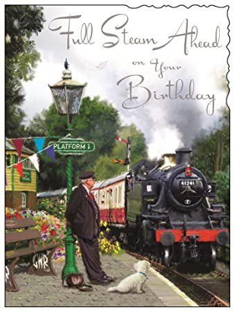 Greeting card jj4320 male birthday steam train silver foil greeting card jj4320 male birthday steam train silver foil embossed finish bookmarktalkfo Image collections