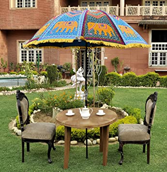 Lal Haveli Handmade Embroidered Patio Outdoor Umbrella Sun Parasol 52 x 72 inches