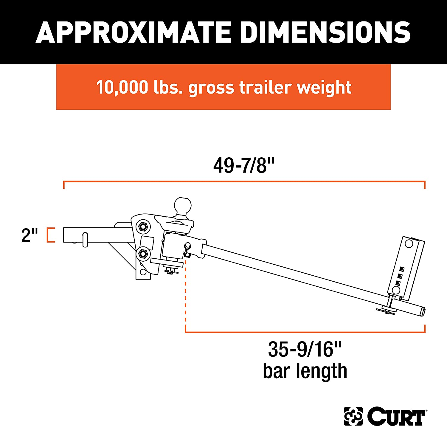 CURT 17500 TruTrack Trunnion Bar Weight Distribution Hitch Black with on