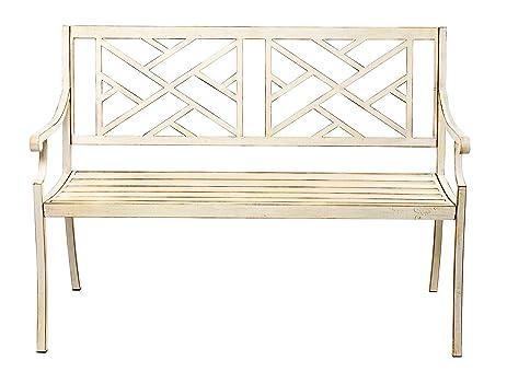 kanstar patio garden bench park yard outdoor furniture steel frame porch chair seat 48 - Garden Furniture Steel