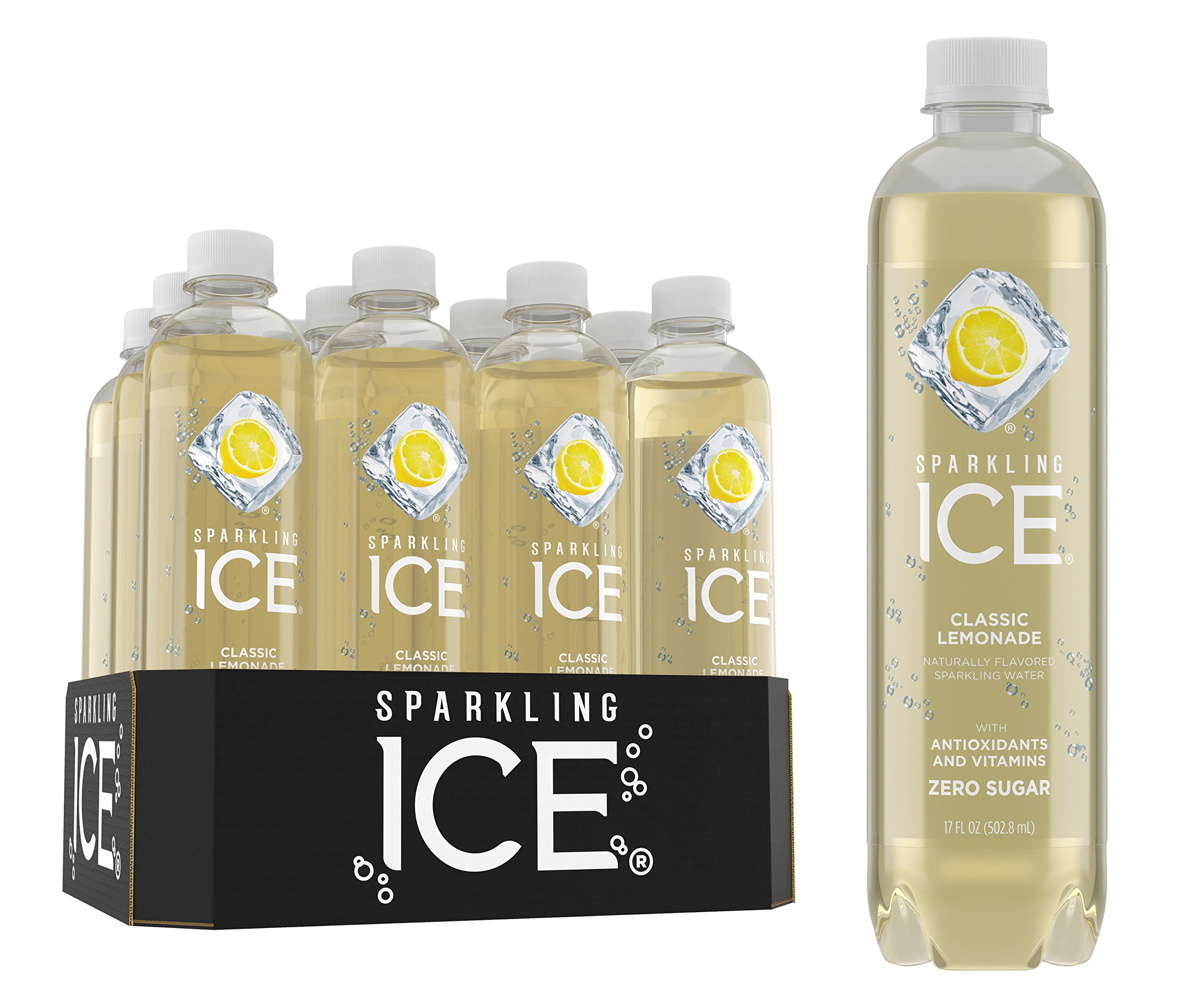 Sparkling Ice Classic Lemonade Sparkling Water, with Antioxidants and Vitamins, Zero Sugar, 17 Ounce Bottles (Pack of 12) by Sparkling ICE