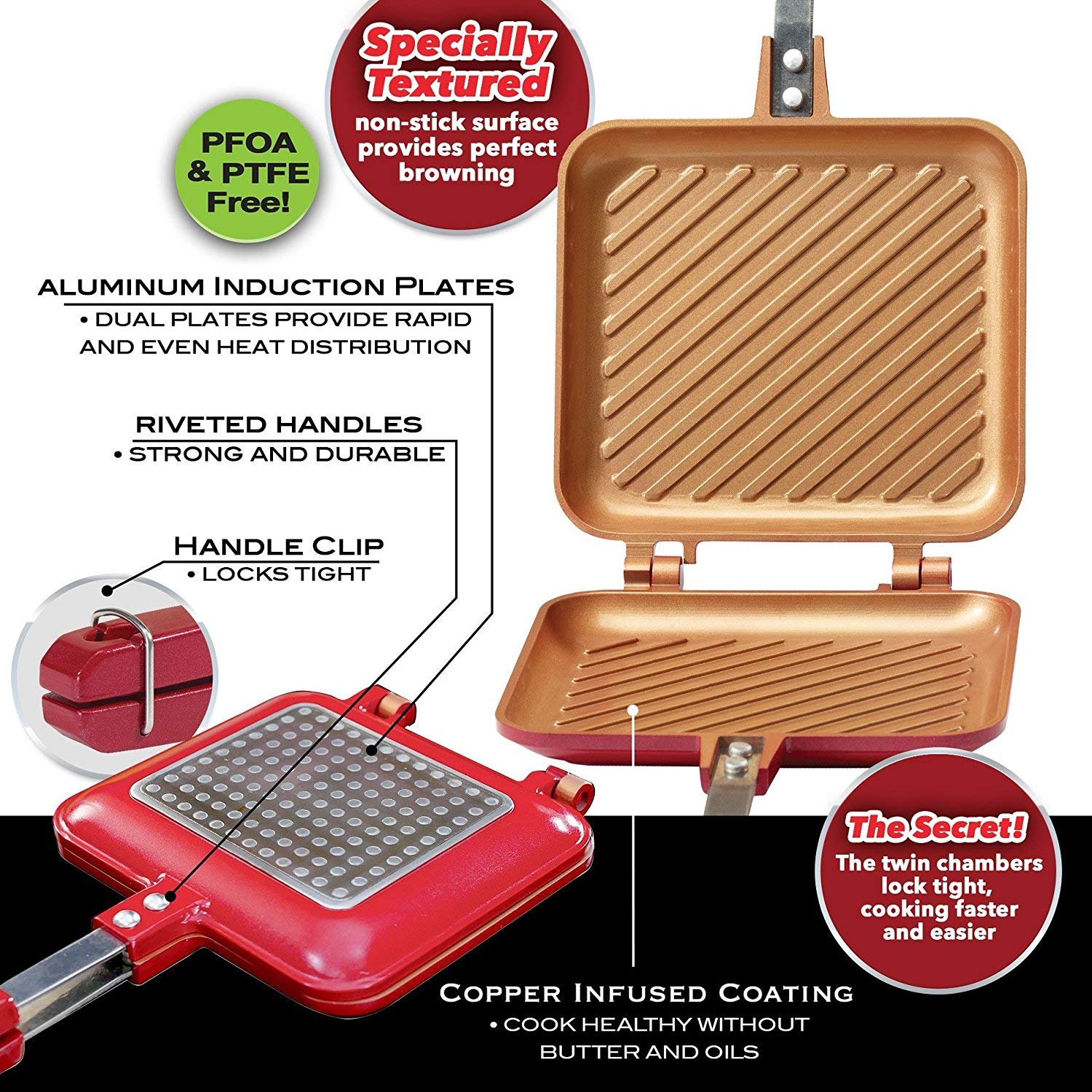 Red Copper Double-Coated Flipwich Non-Stick Grilled Sandwich and Panini Maker by BulbHead by Telebrand
