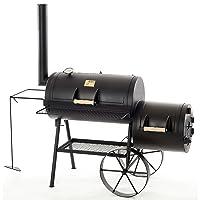 Tradition 16 BBQ-Smoker Joe's Barbeque groß schwarz Edelstahl Garten ✔ Rollen ✔ Deckel ✔ Ablagefläche ✔ rund ✔ rollbar ✔ stehend grillen ✔ Grillen mit Holzkohle ✔ mit Station ✔ mit Rädern