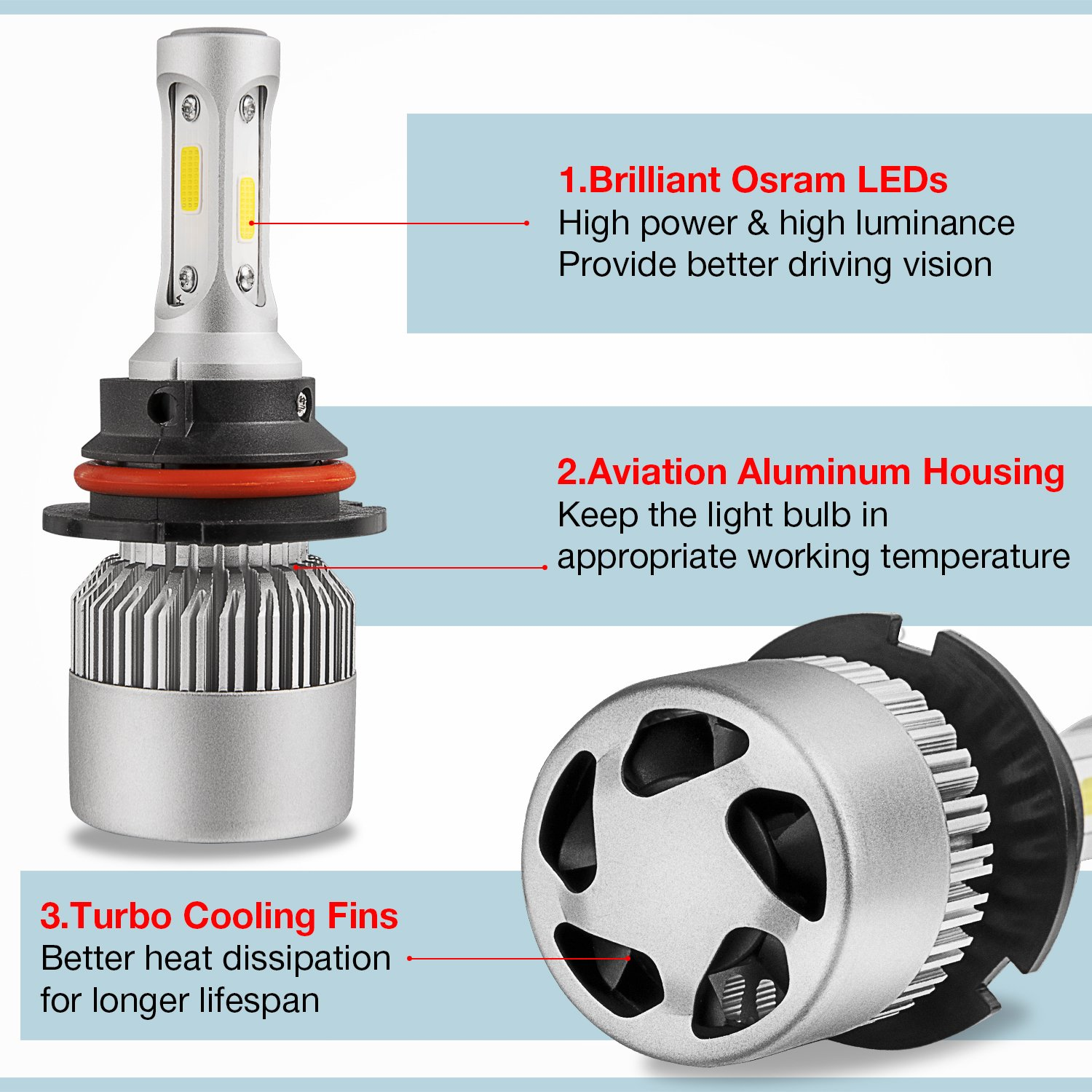 LED Headlight Bulbs Conversion Kit OFFROADTOWN H4 OSRAM Chip 15000 Lumen Extremely Bright 150w Cool White 6000K