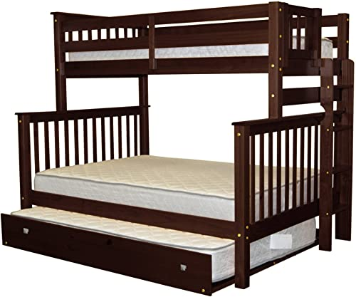 Bedz King Bunk Beds Twin over Full Mission Style with End Ladder and a Full Trundle, Cappuccino
