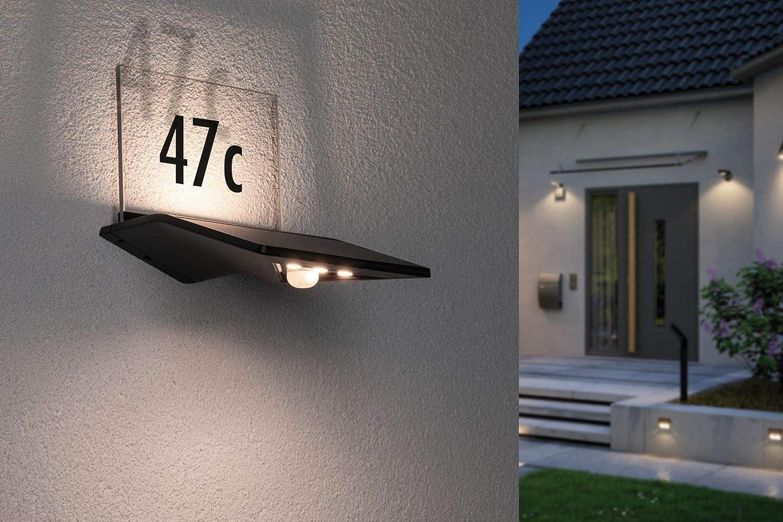 0.04 W 1x0,04 Watt Anthrazit Kunststoff 3000 K Warmwei/ß Paulmann 94236 Solar Hausnummernleuchte LED Au/ßenleuchte incl
