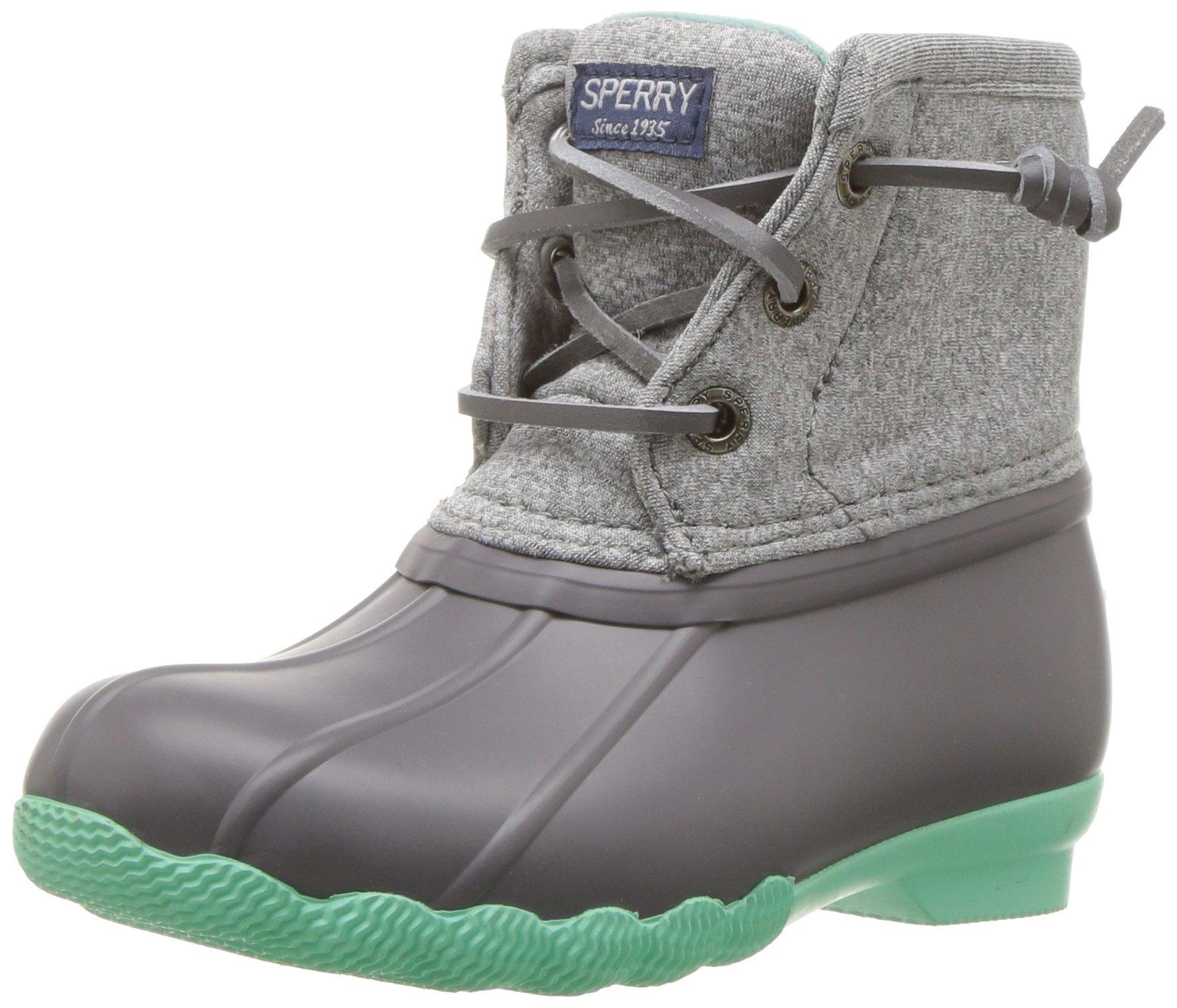 Sperry Girls' Saltwater Snow Boot, Grey/Mint, 11 Medium US Little Kid